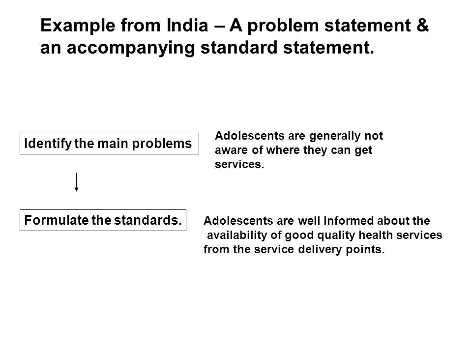 Adolescents are generally not aware of where they can get services. Example from India – A problem statement & an accompanying standard statement. Ide