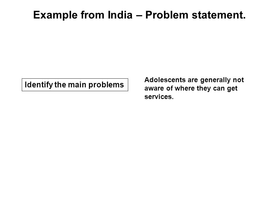 Adolescents are generally not aware of where they can get services. Example from India – Problem statement. Identify the main problems