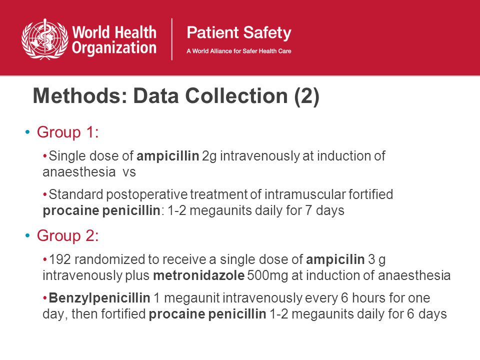 Methods: Data Collection (2) Group 1: Single dose of ampicillin 2g intravenously at induction of anaesthesia vs Standard postoperative treatment of in