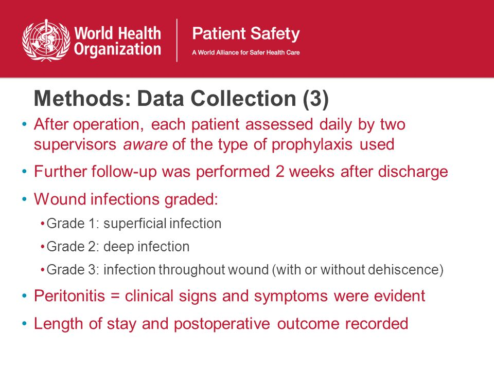 Methods: Data Collection (3) After operation, each patient assessed daily by two supervisors aware of the type of prophylaxis used Further follow-up w