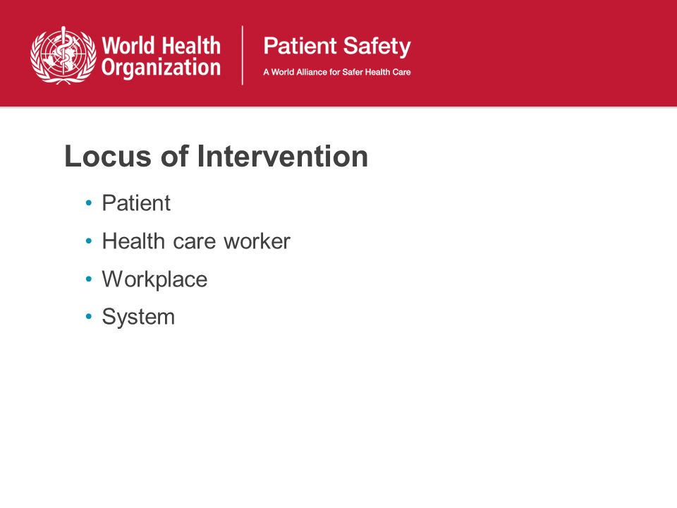 Locus of Intervention Patient Health care worker Workplace System