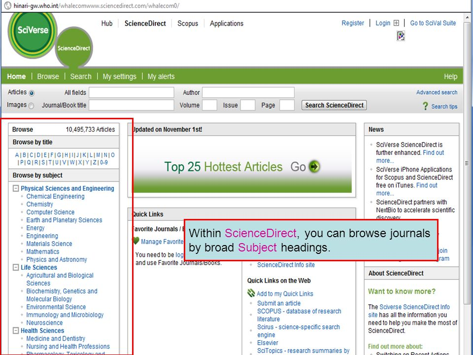 Science Direct 10 Within ScienceDirect, you can browse journals by broad Subject headings.