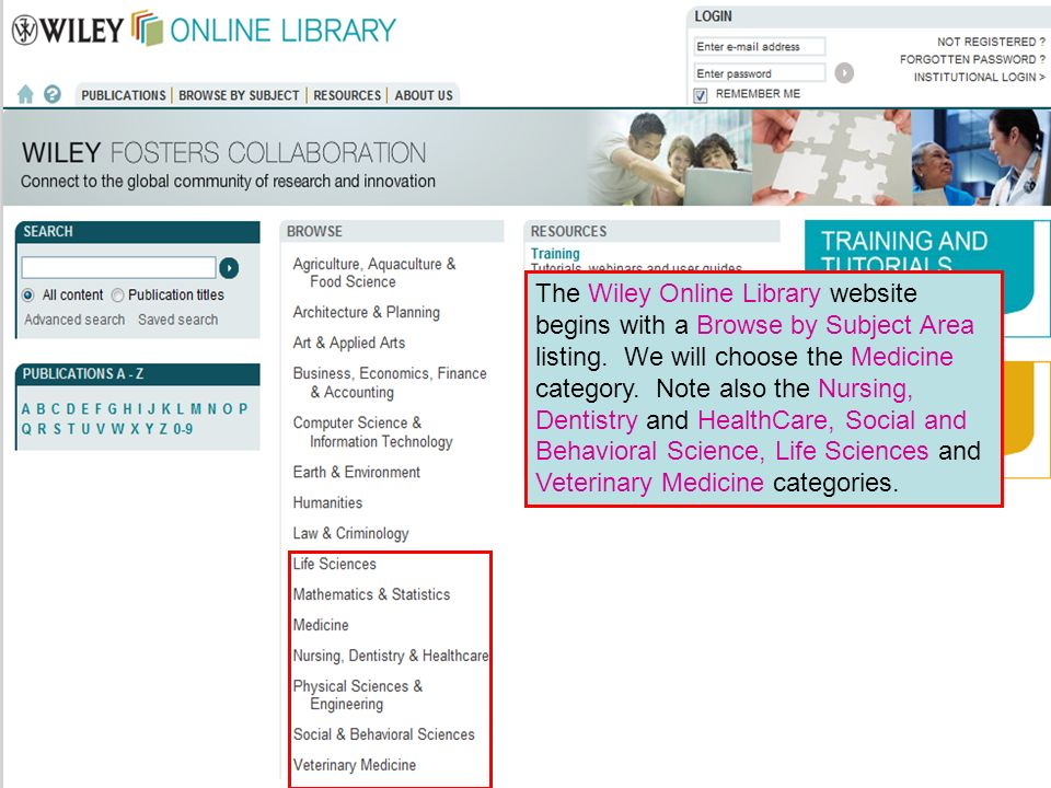Wiley Interscience 0 The Wiley Online Library website begins with a Browse by Subject Area listing.