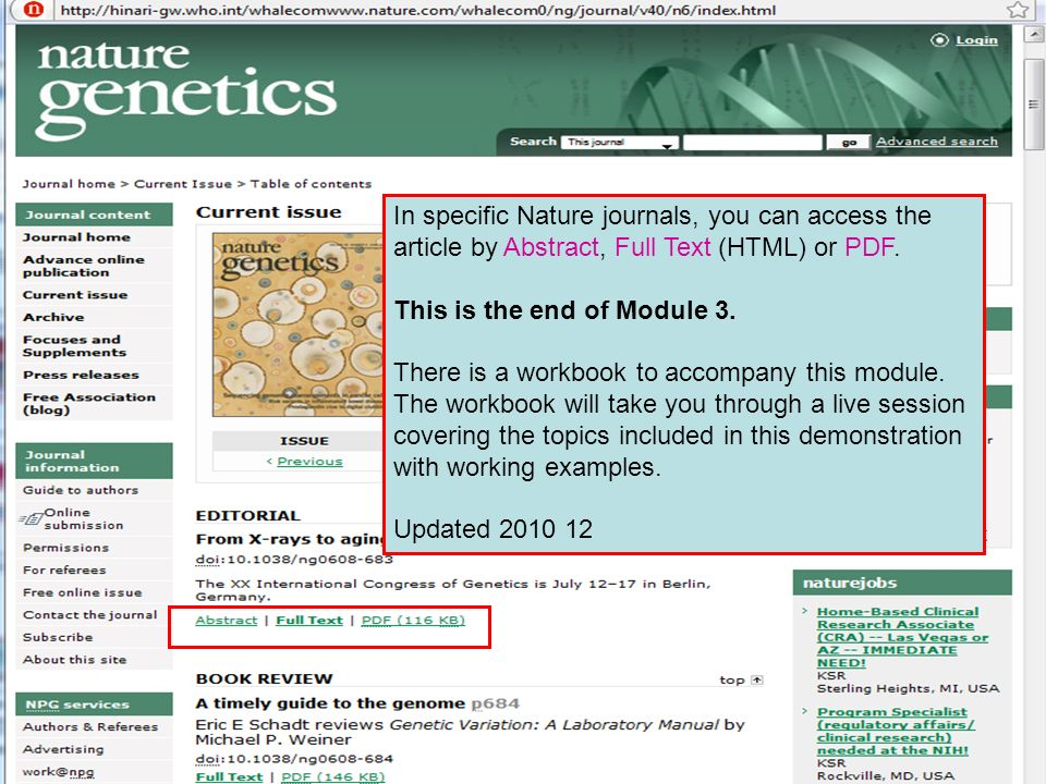 In specific Nature journals, you can access the article by Abstract, Full Text (HTML) or PDF.