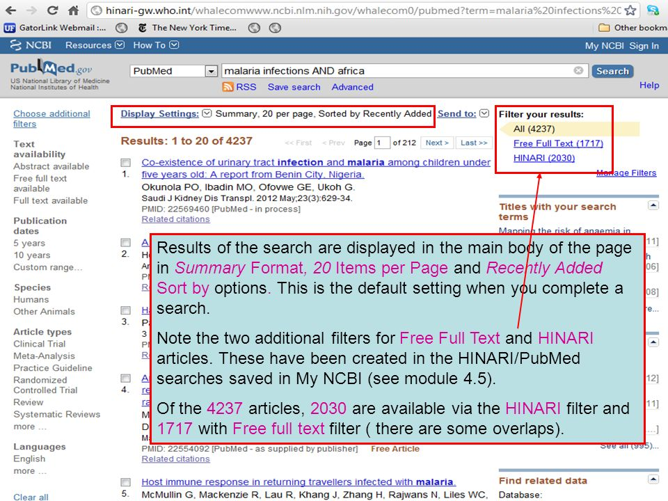 Results of the search are displayed in the main body of the page in Summary Format, 20 Items per Page and Recently Added Sort by options.