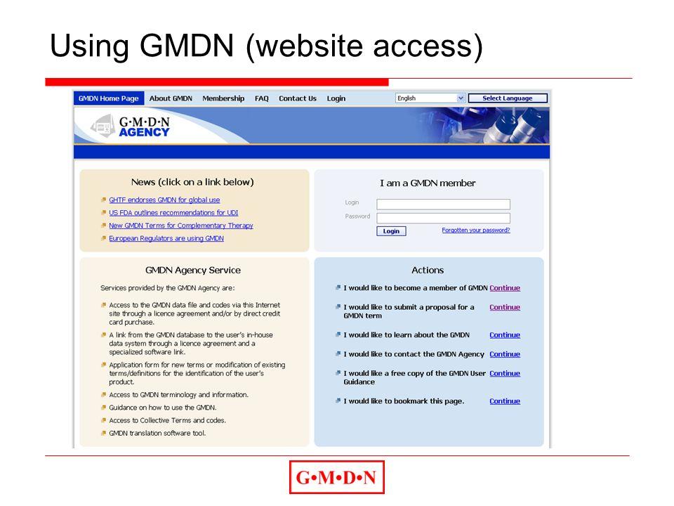 Using GMDN (website access)
