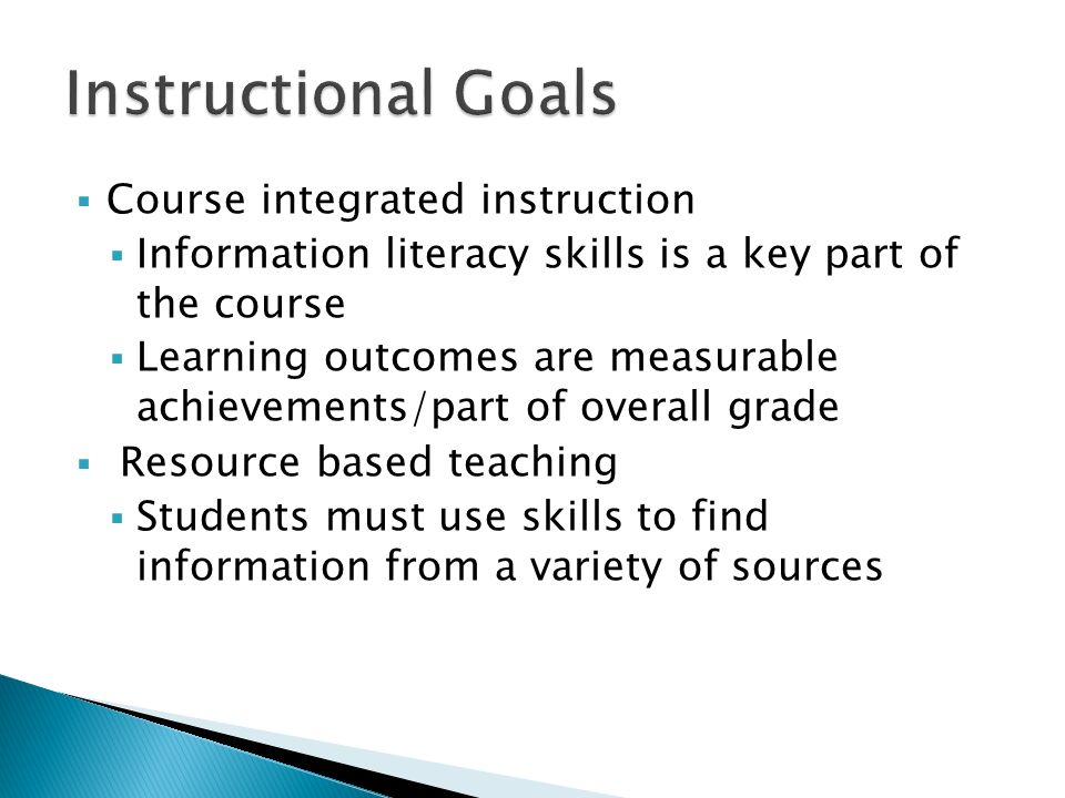 Course integrated instruction Information literacy skills is a key part of the course Learning outcomes are measurable achievements/part of overall grade Resource based teaching Students must use skills to find information from a variety of sources