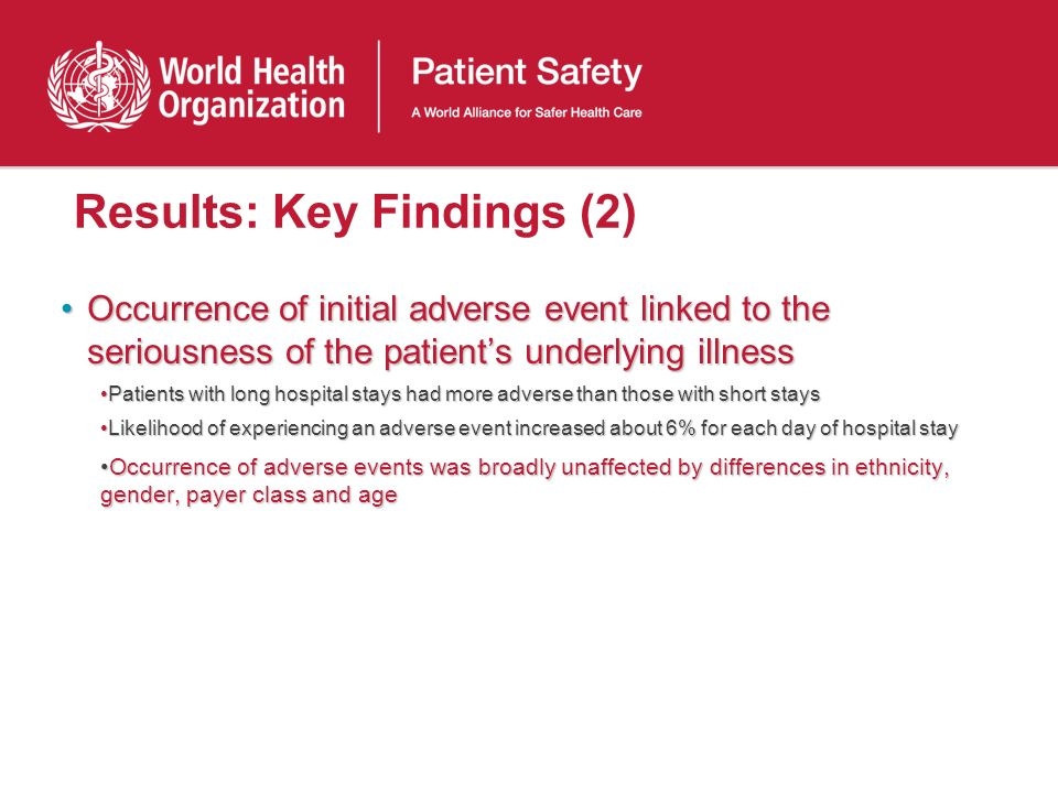 Results: Key Findings (2) Occurrence of initial adverse event linked to the seriousness of the patients underlying illnessOccurrence of initial advers