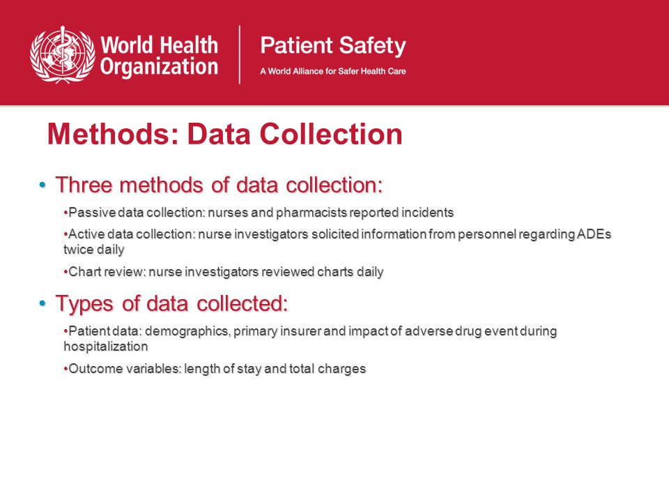 Methods: Data Collection Three methods of data collection:Three methods of data collection: Passive data collection: nurses and pharmacists reported i