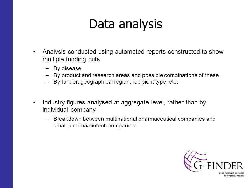 Data analysis Analysis conducted using automated reports constructed to show multiple funding cuts –By disease –By product and research areas and possible combinations of these –By funder, geographical region, recipient type, etc.