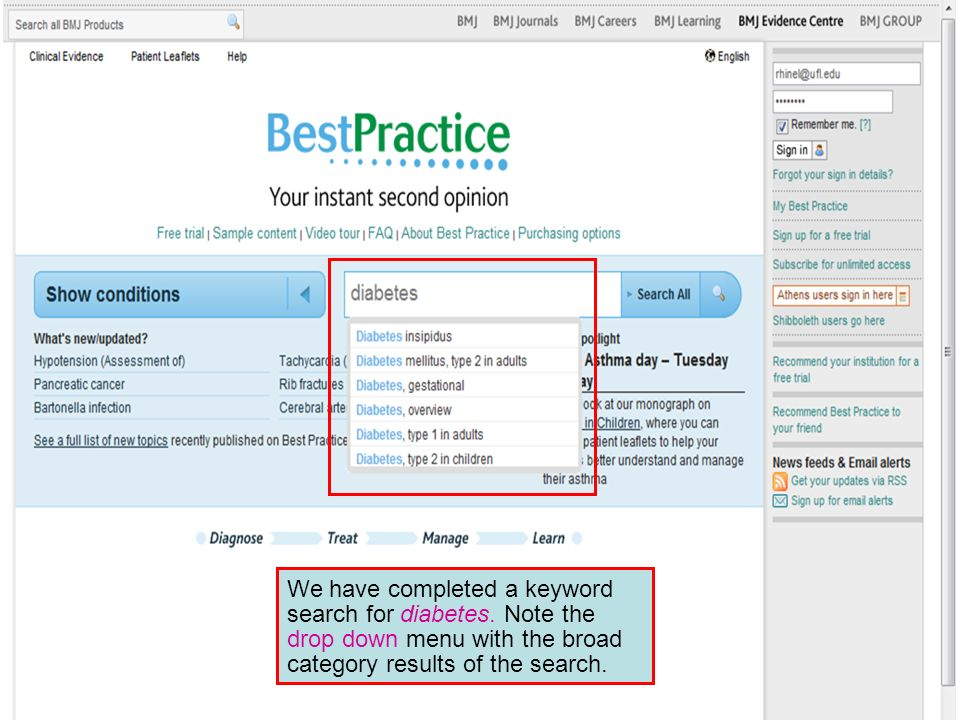 We have completed a keyword search for diabetes. Note the drop down menu with the broad category results of the search.