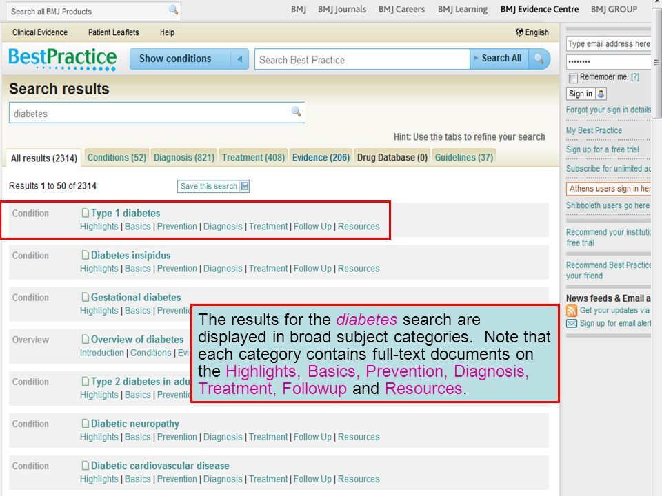 The results for the diabetes search are displayed in broad subject categories. Note that each category contains full-text documents on the Highlights,