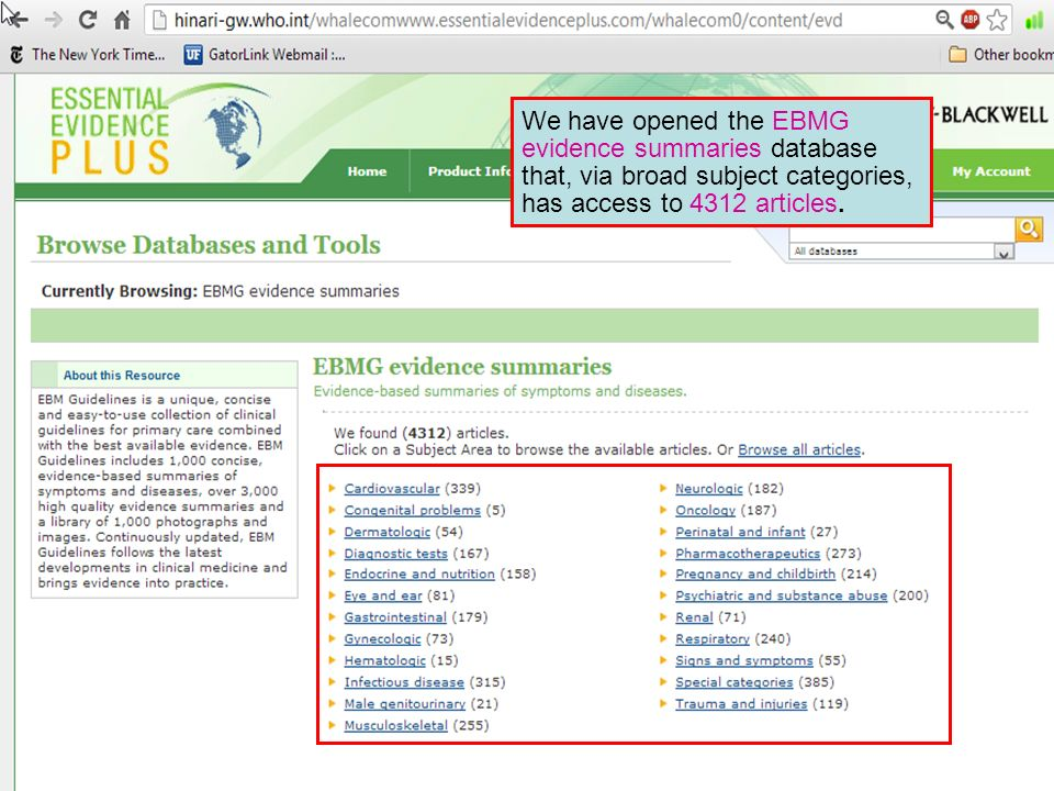 We have opened the EBMG evidence summaries database that, via broad subject categories, has access to 4312 articles.