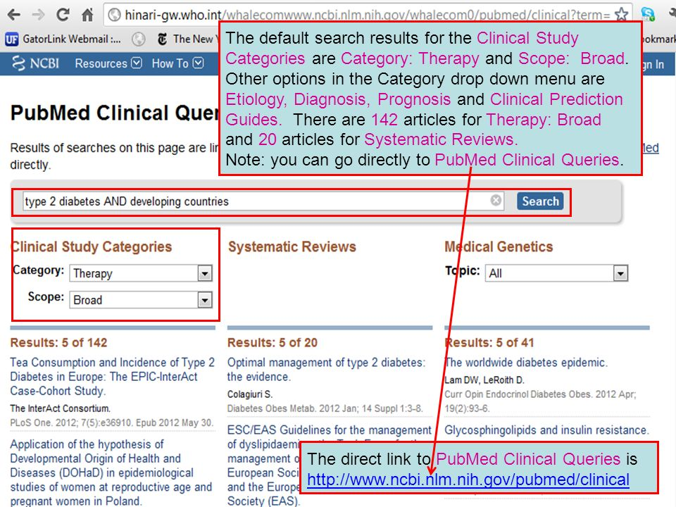 The default search results for the Clinical Study Categories are Category: Therapy and Scope: Broad. Other options in the Category drop down menu are