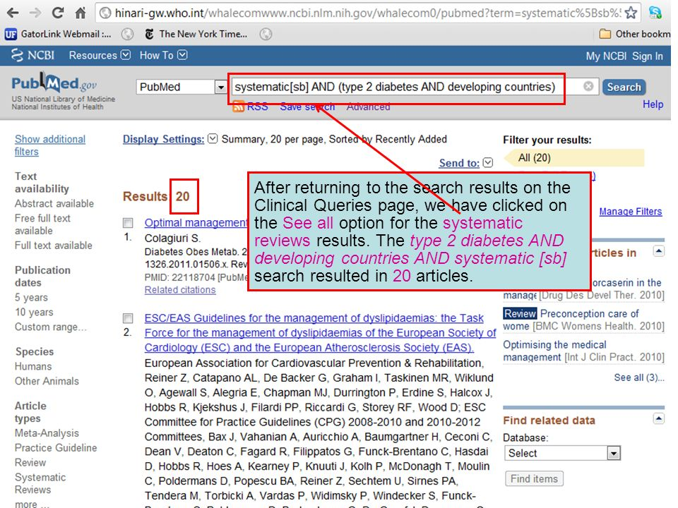 After returning to the search results on the Clinical Queries page, we have clicked on the See all option for the systematic reviews results.