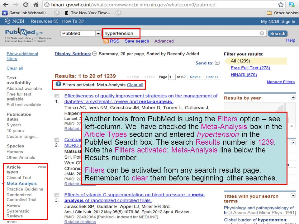 Another tools from PubMed is using the Filters option – see left-column. We have checked the Meta-Analysis box in the Article Types section and entere