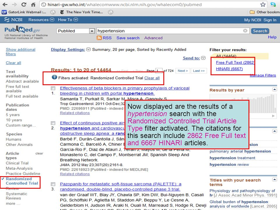 Now displayed are the results of a hypertension search with the Randomized Controlled Trial Article Type filter activated.