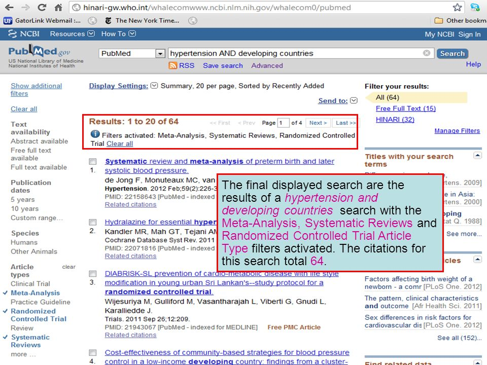 The final displayed search are the results of a hypertension and developing countries search with the Meta-Analysis, Systematic Reviews and Randomized Controlled Trial Article Type filters activated.