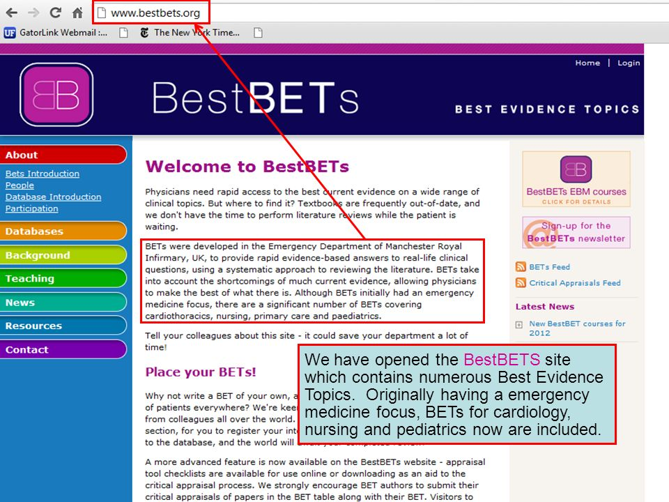 We have opened the BestBETS site which contains numerous Best Evidence Topics. Originally having a emergency medicine focus, BETs for cardiology, nurs