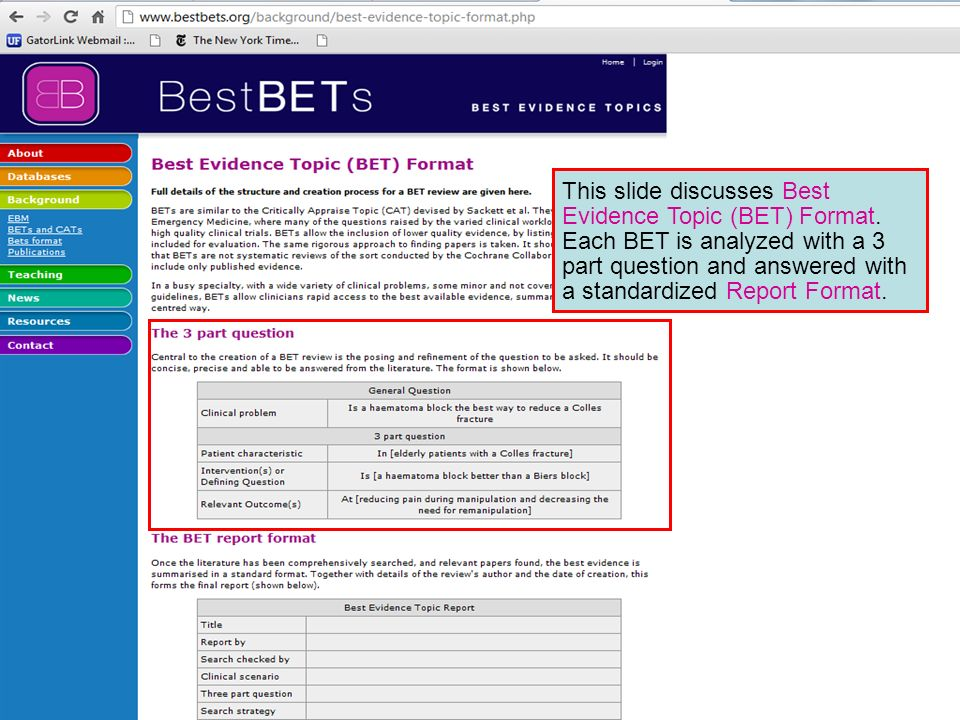 This slide discusses Best Evidence Topic (BET) Format. Each BET is analyzed with a 3 part question and answered with a standardized Report Format.