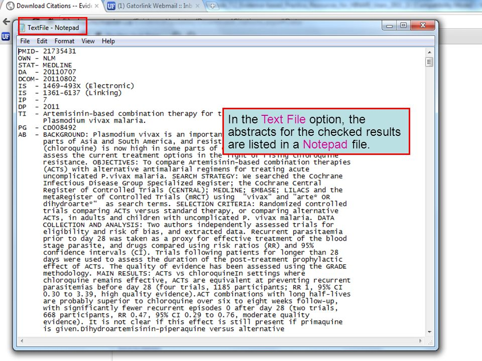 In the Text File option, the abstracts for the checked results are listed in a Notepad file.