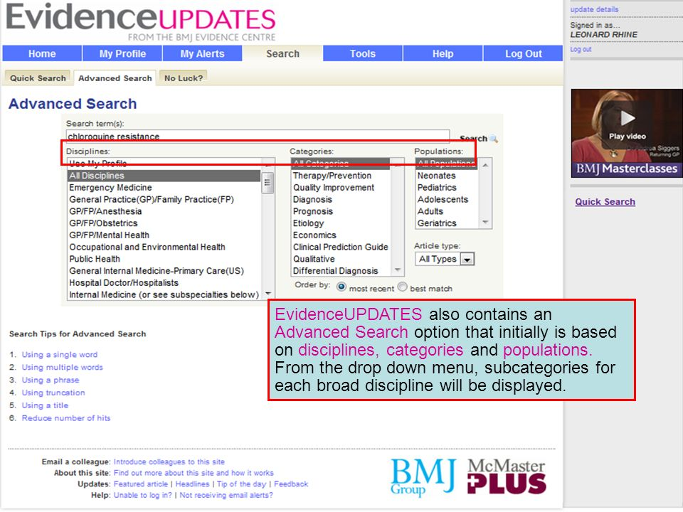 EvidenceUPDATES also contains an Advanced Search option that initially is based on disciplines, categories and populations.