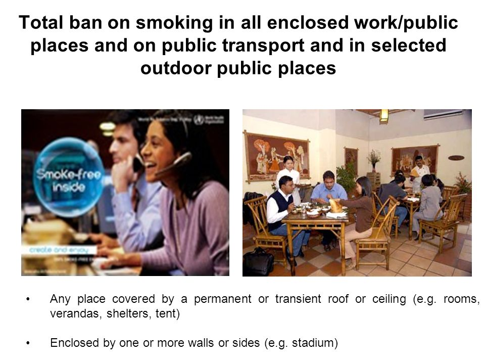 Total ban on smoking in all enclosed work/public places and on public transport and in selected outdoor public places Any place covered by a permanent
