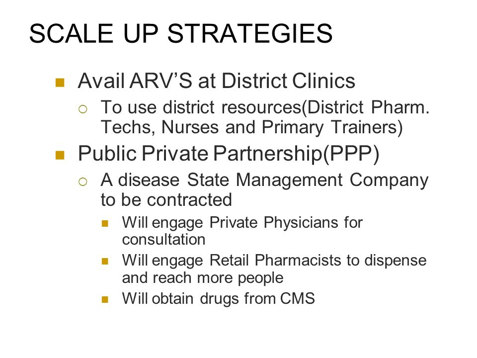 SCALE UP STRATEGIES Avail ARVS at District Clinics To use district resources(District Pharm.