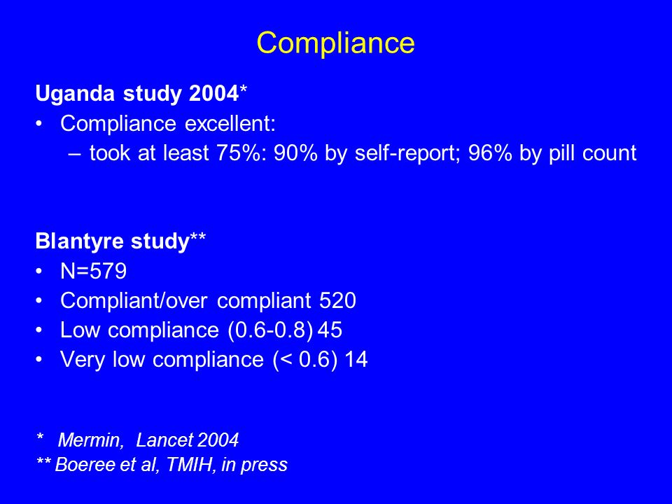 Compliance Uganda study 2004* Compliance excellent: –took at least 75%: 90% by self-report; 96% by pill count Blantyre study** N=579 Compliant/over compliant 520 Low compliance (0.6-0.8) 45 Very low compliance (< 0.6) 14 * Mermin, Lancet 2004 ** Boeree et al, TMIH, in press