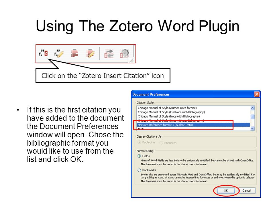 Using The Zotero Word Plugin Click on the Zotero Insert Citation icon If this is the first citation you have added to the document the Document Prefer