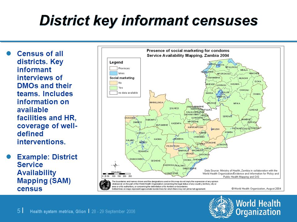 Health system metrics, Glion | 28 - 29 September 2006 5 |5 | District key informant censuses Census of all districts.