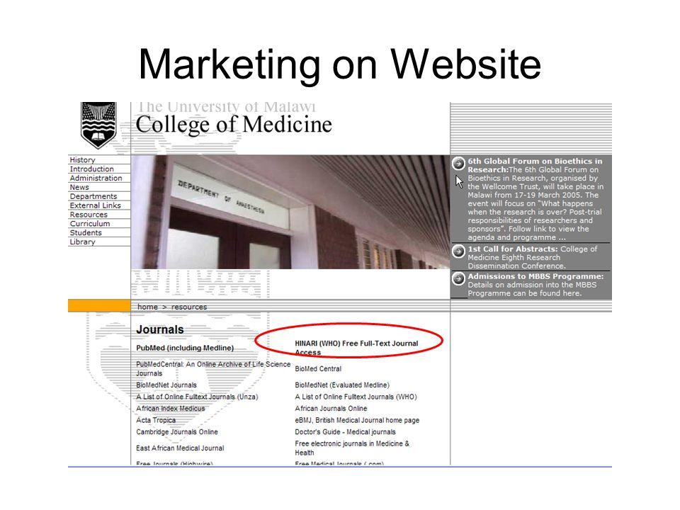 Marketing on Website