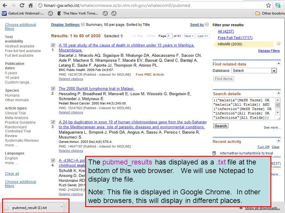 The pubmed_results has displayed as a.txt file at the bottom of this web browser.
