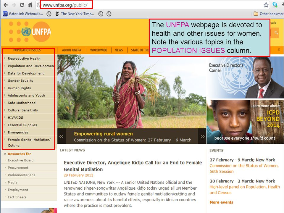 The UNFPA webpage is devoted to health and other issues for women.