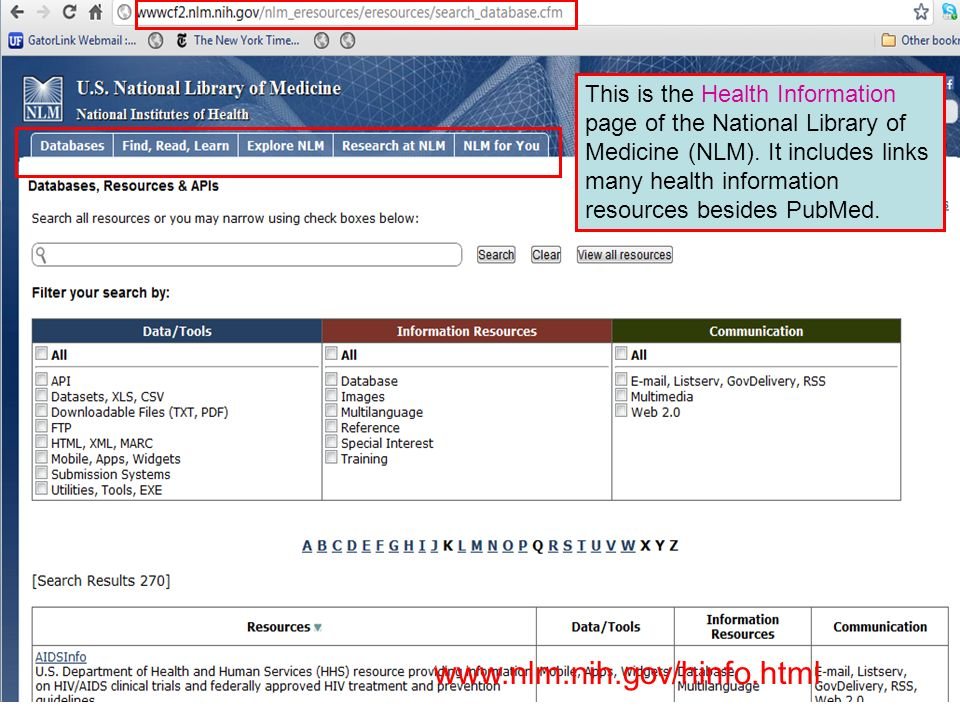 This is the Health Information page of the National Library of Medicine (NLM).
