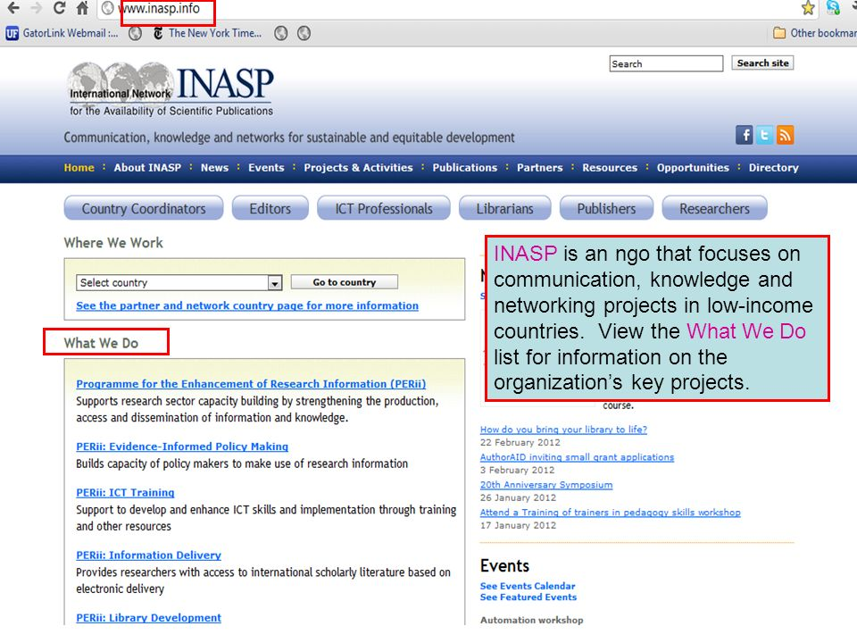 INASP is an ngo that focuses on communication, knowledge and networking projects in low-income countries.