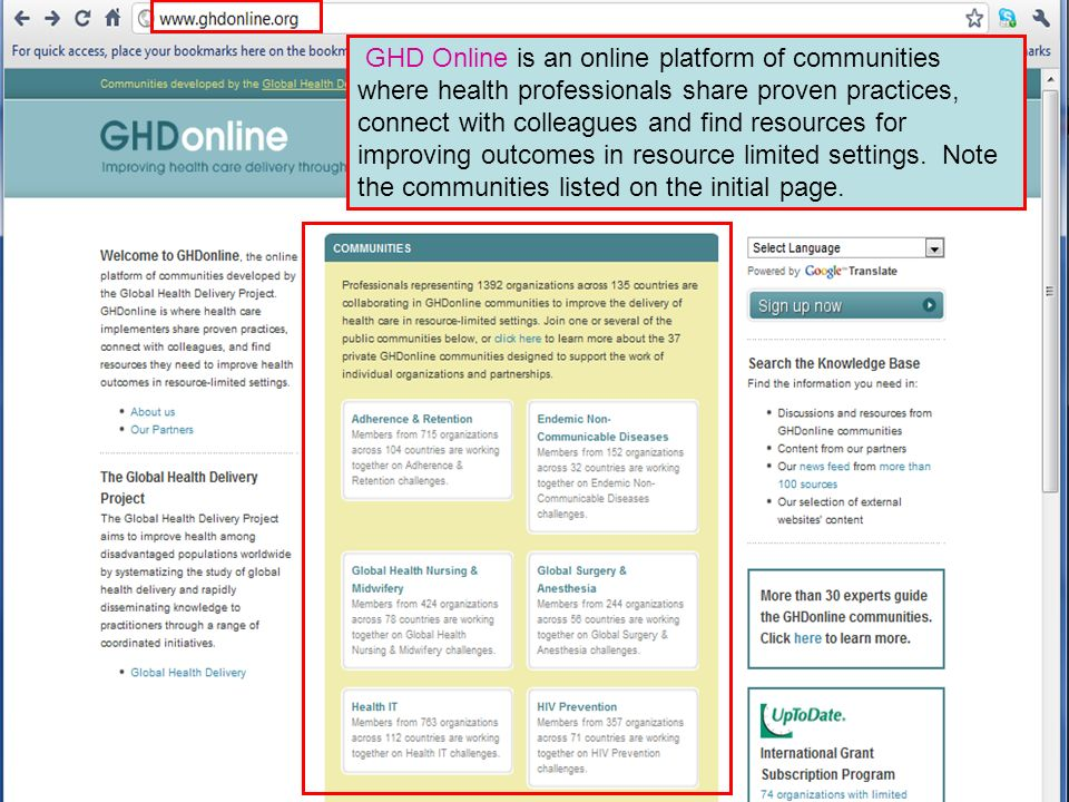GHD Online is an online platform of communities where health professionals share proven practices, connect with colleagues and find resources for improving outcomes in resource limited settings.