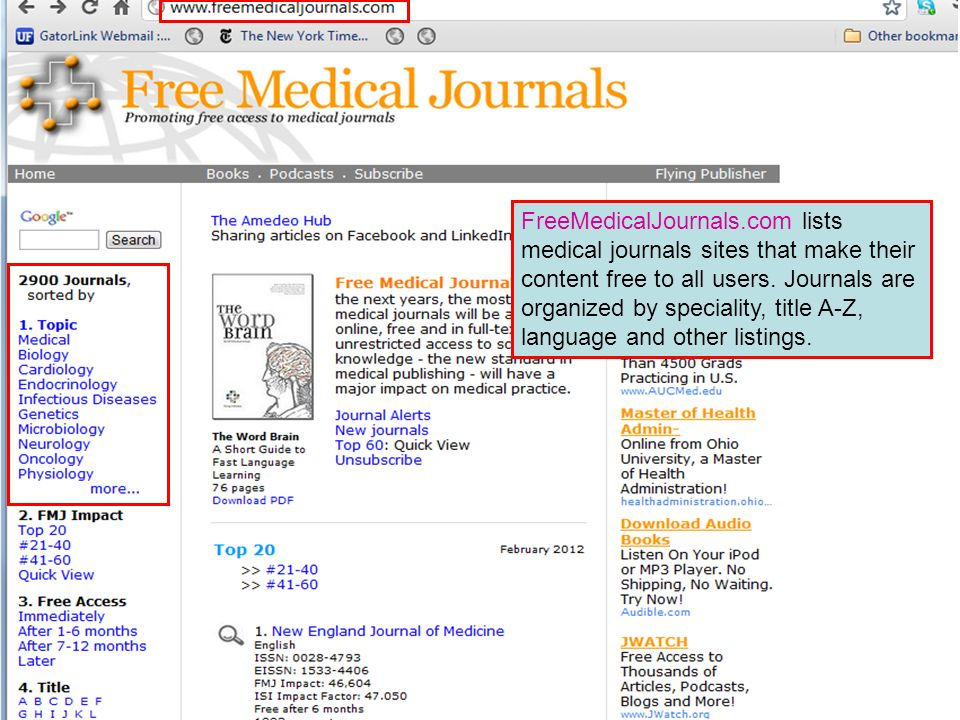 FreeMedicalJournals.com lists medical journals sites that make their content free to all users.