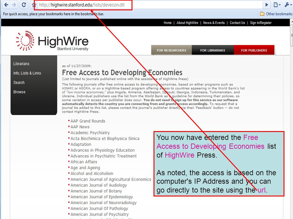 You now have entered the Free Access to Developing Economies list of HighWire Press.