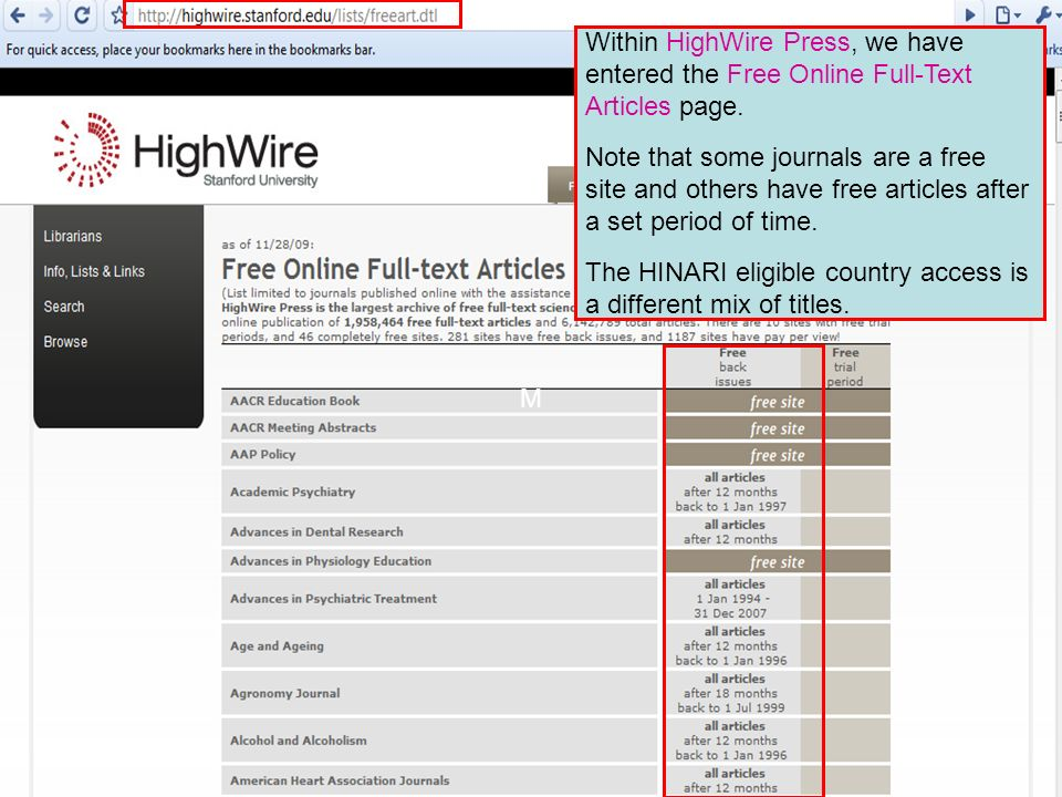 HighWire Press 4 Within HighWire Press, we have entered the Free Online Full-Text Articles page.