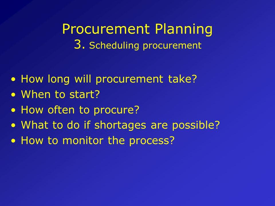 Procurement Planning 2. Schedule all tasks