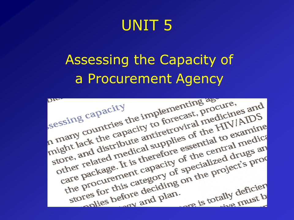 Conclusions The procurement of ARVs has very specific components that differ from the procurement of other drugs The strategy and planning of procurem