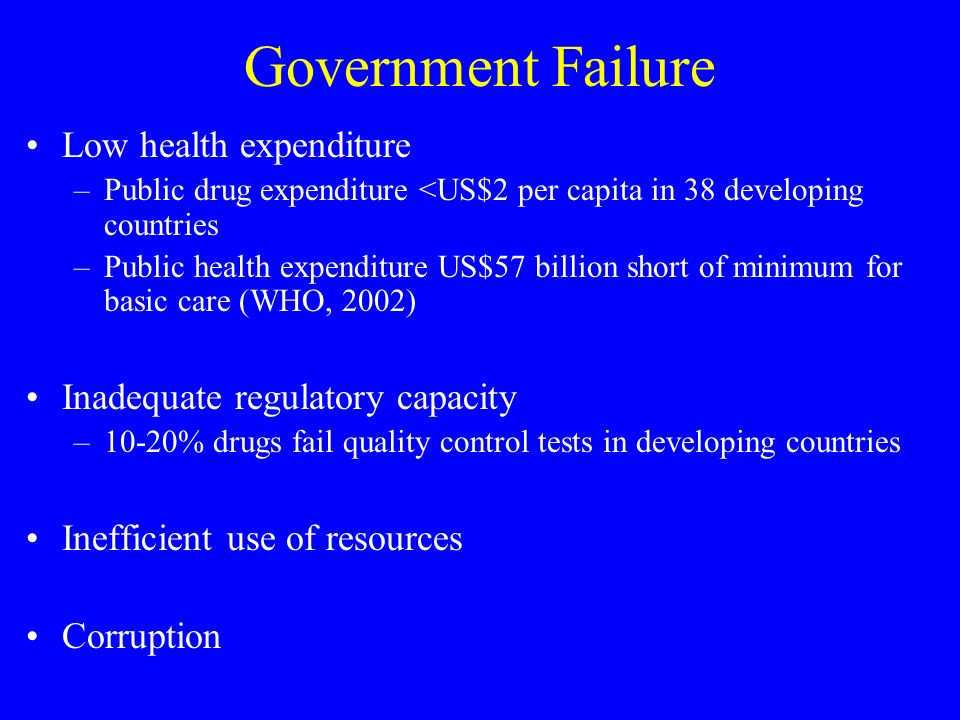 Government Failure Low health expenditure –Public drug expenditure <US$2 per capita in 38 developing countries –Public health expenditure US$57 billion short of minimum for basic care (WHO, 2002) Inadequate regulatory capacity –10-20% drugs fail quality control tests in developing countries Inefficient use of resources Corruption
