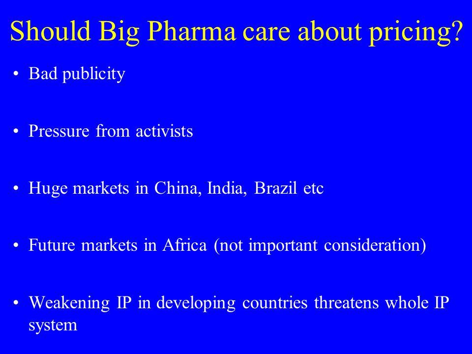 Should Big Pharma care about pricing.