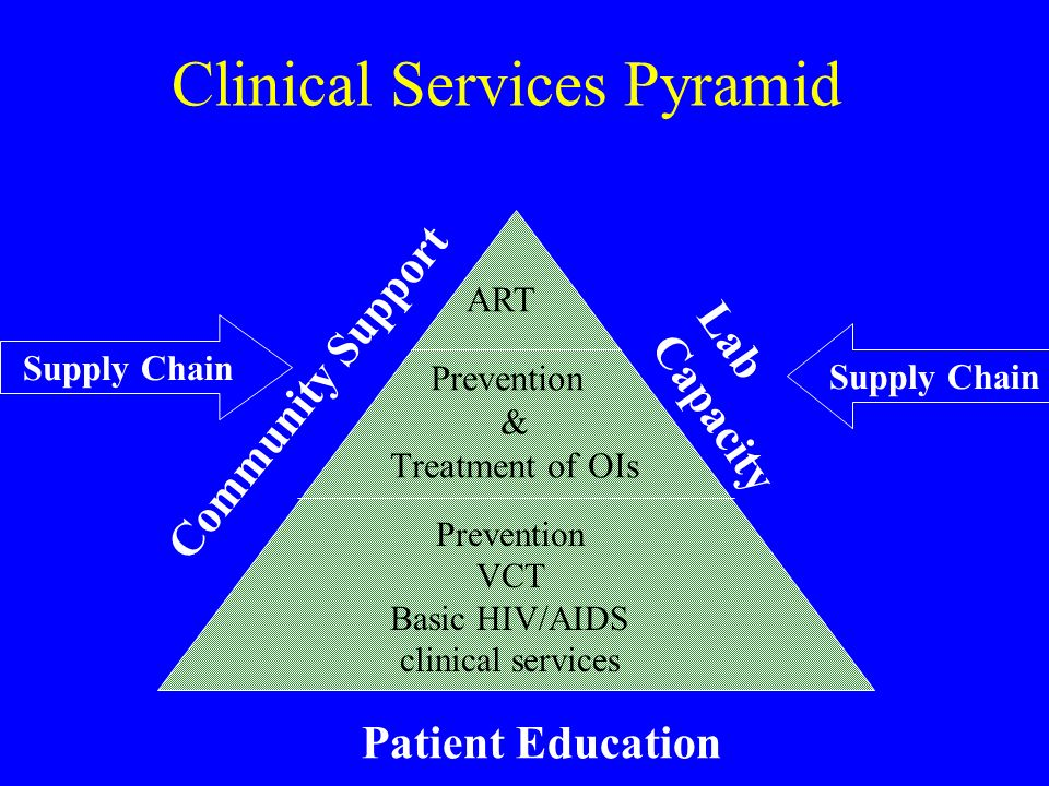Clinical Services Pyramid ART Community Support Prevention & Treatment of OIs Patient Education Lab Capacity Supply Chain Prevention VCT Basic HIV/AIDS clinical services