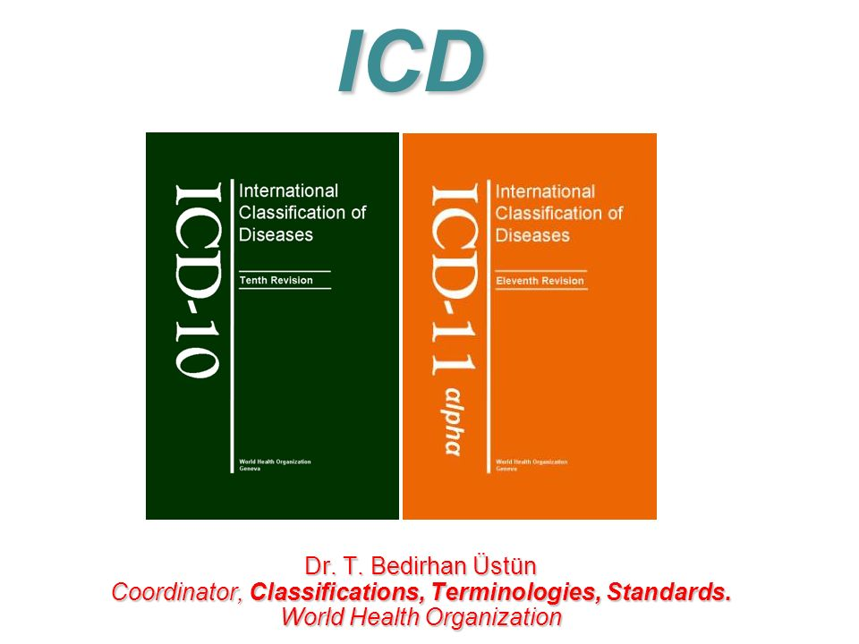 Dr. T. Bedirhan Üstün Coordinator, Classifications, Terminologies, Standards. World Health Organization ICD