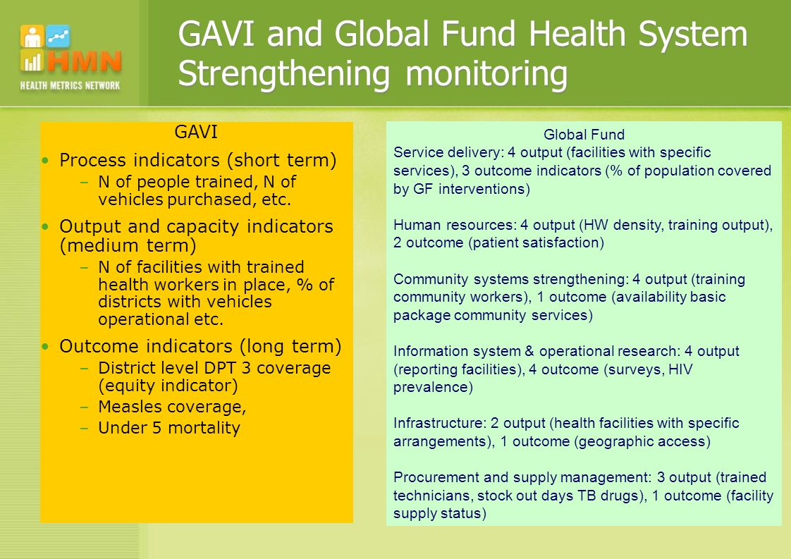 Health system metrics - goals Develop a common strategy to monitor health systems in countries that: 1.Guides and advocates for investment in a data generation strategy to provide accurate statistics for health system indicators 2.Includes a core set of health system indicators, if possible with baselines and targets or thresholds 3.Promotes the incorporation of health system monitoring in health information systems and planning cycles (e.g.