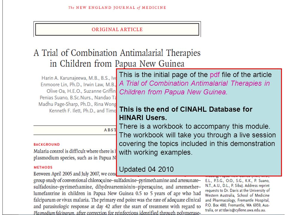 This is the initial page of the pdf file of the article A Trial of Combination Antimalarial Therapies in Children from Papua New Guinea. This is the e