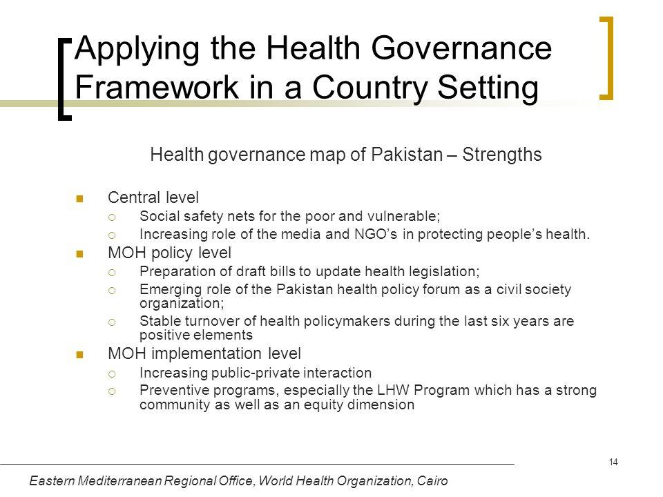 Eastern Mediterranean Regional Office, World Health Organization, Cairo 14 Applying the Health Governance Framework in a Country Setting Health govern