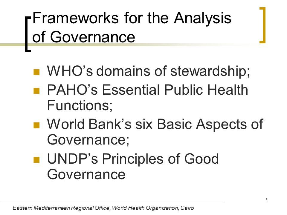 Eastern Mediterranean Regional Office, World Health Organization, Cairo 3 Frameworks for the Analysis of Governance WHOs domains of stewardship; PAHOs